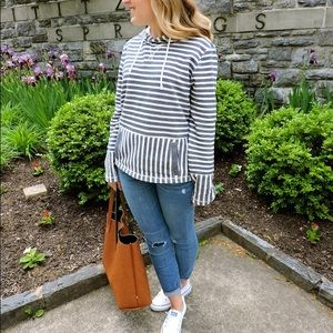J. CREW small blue/white stripes pullover hoodie